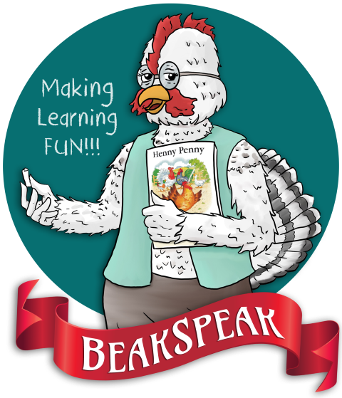 Mrs Goldspeak from BeakSpeak, A Fable & Language Workbook by retired teacher & author Peggy Marceaux